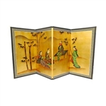 3ft Tall Ladies & Bamboo on Gold Leaf Asian Folding Screen