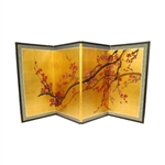2ft & 3ft Tall Plum Tree on Gold Leaf Silk Screen Asian Folding Screen