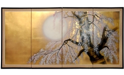 3ft. Tall x 6ft Wide Gold Leaf Sakura Blossom Folding Screen