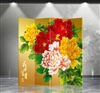 6ft Tall Double Sided Peony Screen in 4 Panels