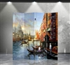 6ft Tall Art Print Room Divider Venitian Canal Painting 4 Panels