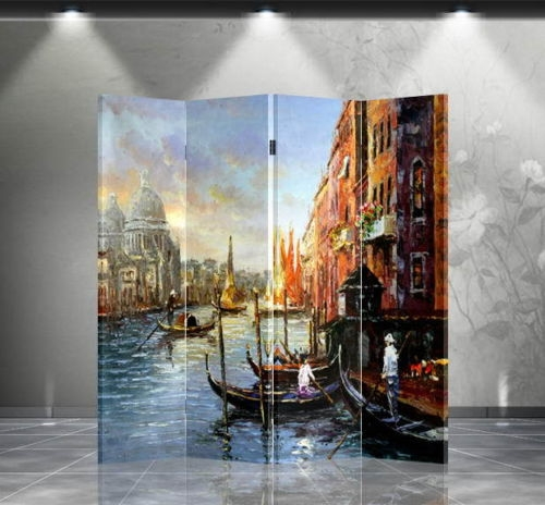 6ft Tall Art Print Room Divider Venitian Canal Painting 4 Panels