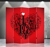6ft Tall Double Sided Valentine Love Room Divider (5 Panels)
