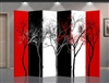 6ft Tall Red, White, Black Abstract Trees in 6 Panels