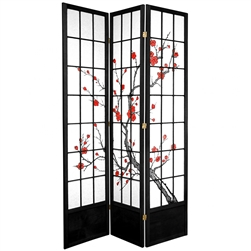 7 ft. Tall Cherry Blossom Shoji Screen Divider (more panels & finishes)