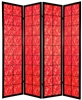 6 ft. Tall Feng Shui Red Fabric Shoji Screen Room Divider