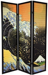 6 ft. Tall Japanese Wave Shoji Screen