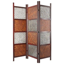 6ft Tall Bamboo Leaf Decorative Folding Screen