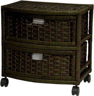 Natural Fiber Storage Chest Two Drawer