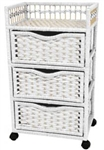 Natural Fiber Chest of Drawers on Wheels - Three Drawer with Display Top