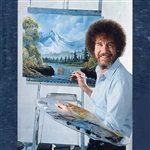 T-Shirt: Bob Ross Denim Blue Soft Luscious Distressed Fabric Photo T-Shirt, Men's Cut