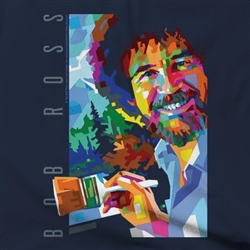 T-Shirt: Bob Ross Navy GEO Men's Cut--Large