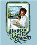 T-Shirt: Happy Little Clouds Light Blue--DISTRESSED Style, Men's Cut