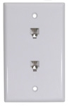 Flush Mount Double Wall Plate 6P/4C - White