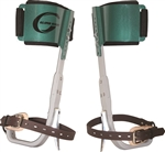 "Climb Right ""CTB"" QUICK CHANGE ALUMINUM CLIMBERS W LOWER STRAPS & VELCRO PADS W METAL INSERTS"