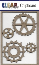 Wheel Gears Chipboard Embellishments