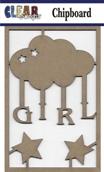 Girl Cloud Chipboard Embellishments