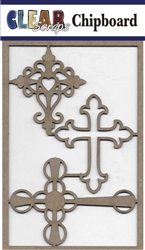 Mixed Crosses Chipboard Embellishments