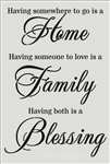 "Wall Stencil Home, Family, Blessings 24"" x 36"""