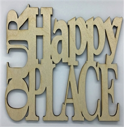 Our Happy Place XL Script Wood Quote