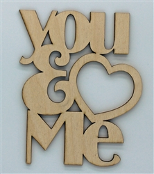 You n Me XL Script Wood Quote