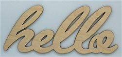 Hello XL Script Wood Word