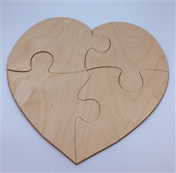 Puzzle Wood Heart 4pc