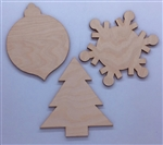 Wood Holiday Collection shapes 3 pack