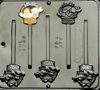 1809 Bunny in Basket Lollipop Chocolate Candy Mold