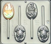 1833 Bunny in Basket Oval Lollipop Chocolate Candy Mold