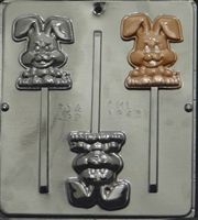 1843 Happy Easter Bunny Lollipop Chocolate Candy Mold