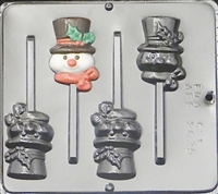 2039 Snowman with Top Hat Lollipop Chocolate Candy Mold