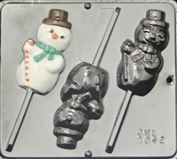 2042 Snowman Lollipop Chocolate Candy Mold