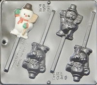 2045 Snowman Waving Lollipop Chocolate Candy Mold