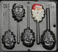 2086 Santa Claus Face Lollipop Chocolate Candy Mold