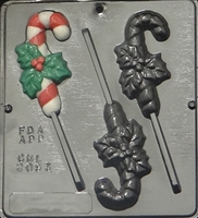 2093 Candy Cane with Holly Lollipop Chocolate Candy Mold