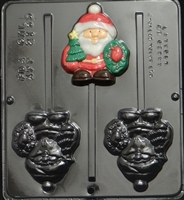 2135 Santa with Wreath Lollipop Chocolate Candy Mold