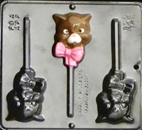 228 Kitty with Bow Lollipop Chocolate Candy Mold