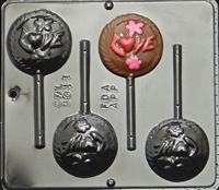 3011 Love on Circle Pops LollipopChocolate Candy Mold