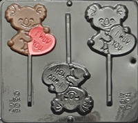 3020 I Wuv You on Cuddly Bear Pop Lollipop Chocolate Candy Mold