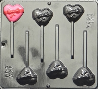 3024 Small Heart with Bow Lollipop Chocolate Candy Mold