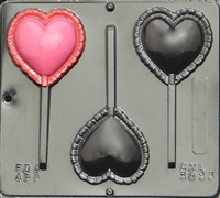 3033 Puffed Heart Lollipop Chocolate