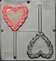 3041 Heart with Lace Trim Pop Lollipop