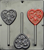 3043 Hearts, Birds & Flowers on Pop Lollipop Chocolate Candy Mold
