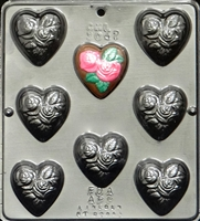 3047 Heart with Two Roses Chocolate Candy Mold