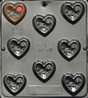 3050 Heart with Rose Piece Chocolate Candy Mold