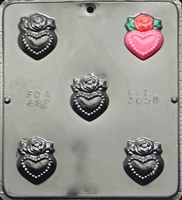 3058 Heart Charms with Rose Pieces