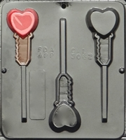 3062 Heart Key Lollipop Chocolate Candy Mold