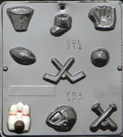 314 Sports Assortment Chocolate Candy Mold