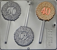 "3301 ""40"" Birthday/Anniversary Lollipop Chocolate Candy Mold"